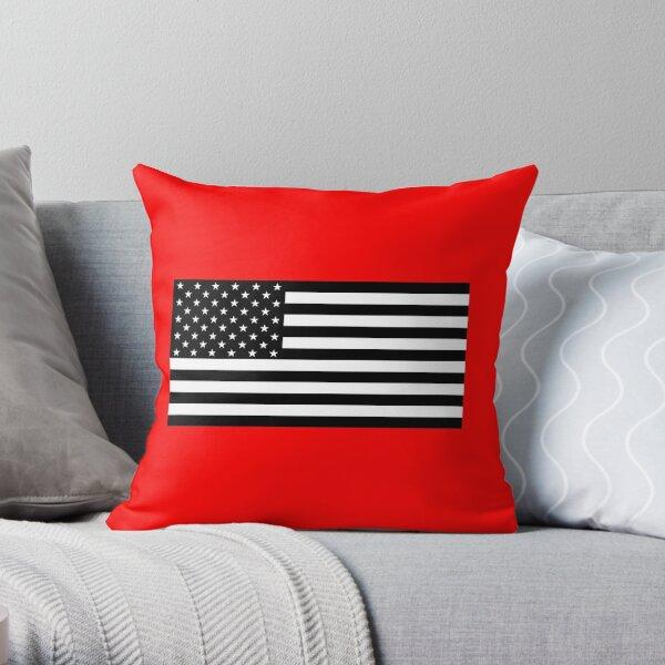 Black and White US Flag Throw Pillow