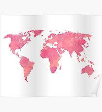 Pink Water Color World Map Poster