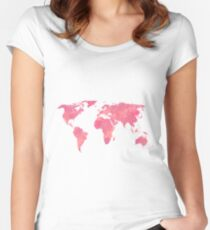 Pink Water Color World Map Women's Fitted Scoop T-Shirt