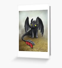 Toothless Dragon inspired from How To train Your Dragon. Greeting Card