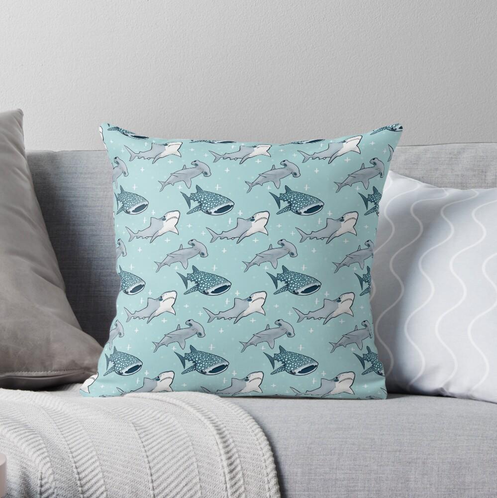 Shark Pattern Throw Pillow