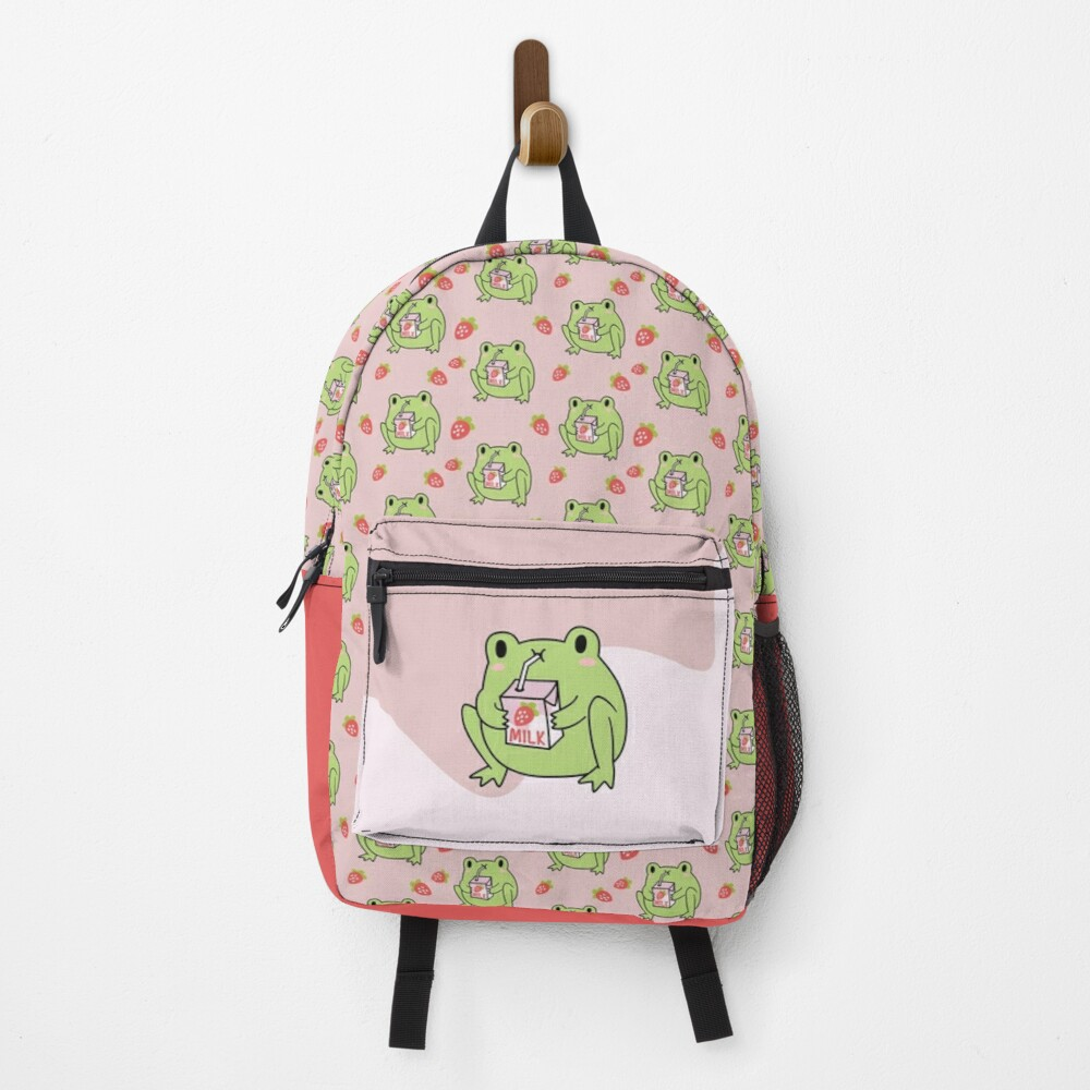 Cute Strawberry Milk Frog Backpack