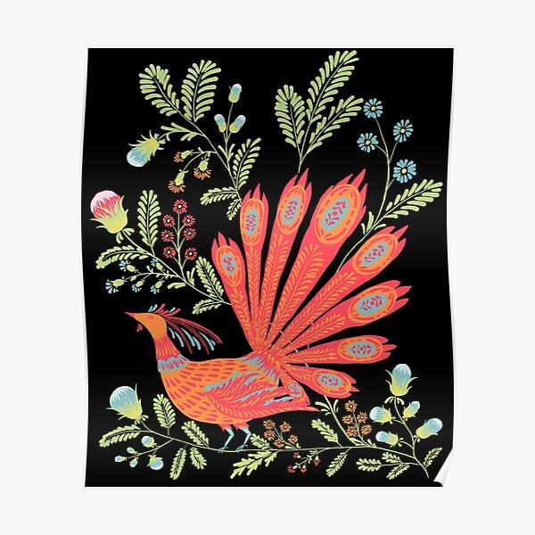 Firebird - Cute Floral Vintage Ukrainian Vyshyvanka Style Gift Poster