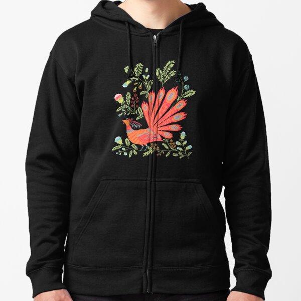Firebird - Cute Floral Vintage Ukrainian Vyshyvanka Style Gift Zipped Hoodie