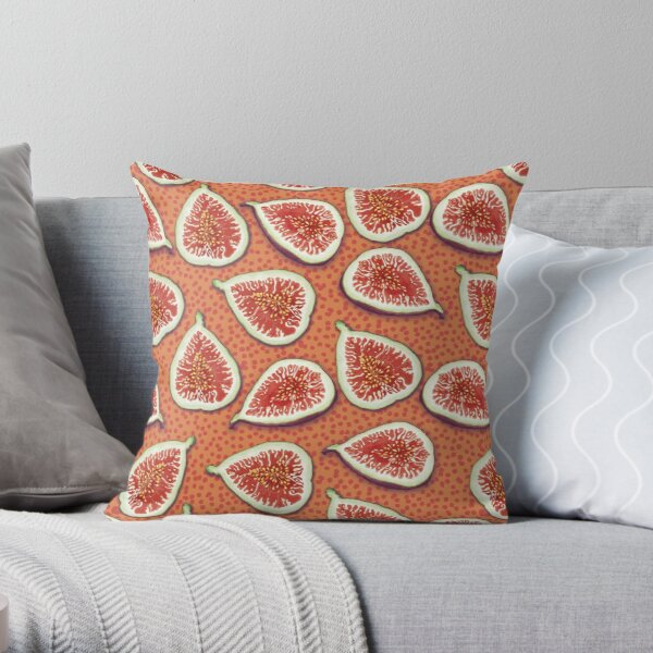 Juicy Fruity Figs Pattern Throw Pillow