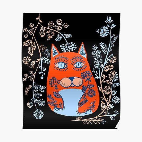 Magic Cat - Cute Floral Vintage Ukrainian Vyshyvanka Style Gift Poster