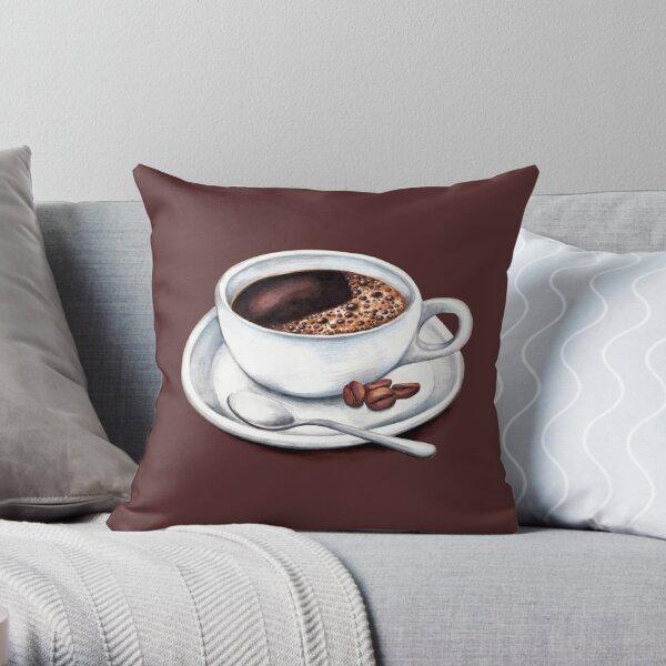Caffeine Fix Pattern Throw Pillow
