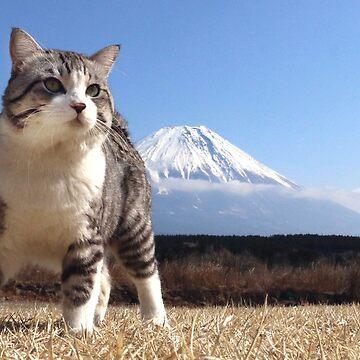 Cat and Mount Fuji by NYANKICHILABO