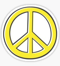 Yellow, offset peace symbol Sticker