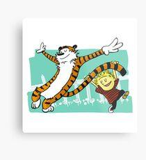 Calvin and Hobbes Dancing Metal Print