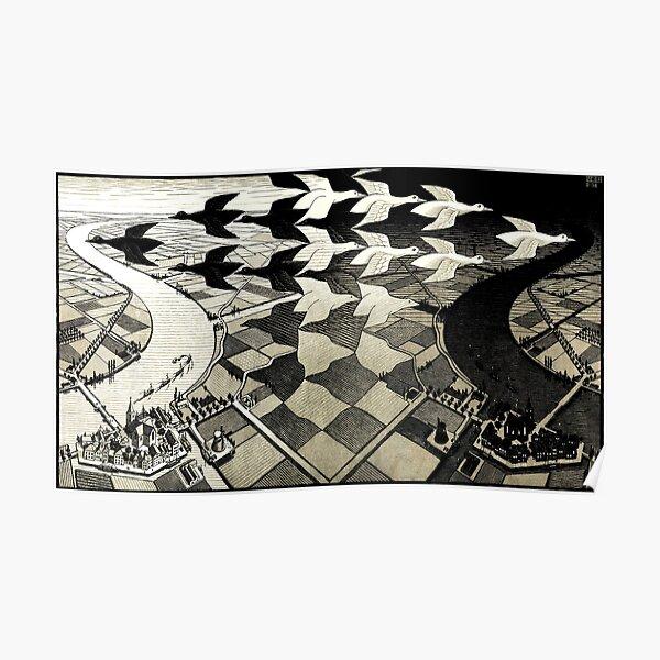 Escher Tessellations jour et nuit Poster