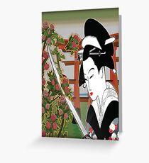 Geisha pruning roses Greeting Card