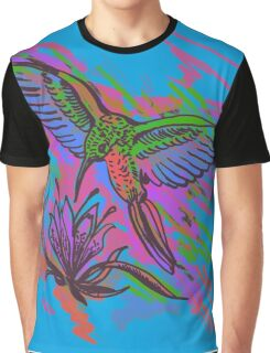Hummingbird hand drawing bright illustration. Neon colors Graphic T-Shirt