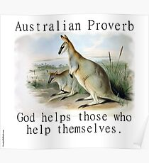 God Helps Those - Australian Proverb Poster
