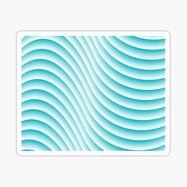 Teal and White Waves Sticker