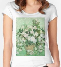 Vincent Van Gogh - Roses - Van Gogh - Roses  Women's Fitted Scoop T-Shirt