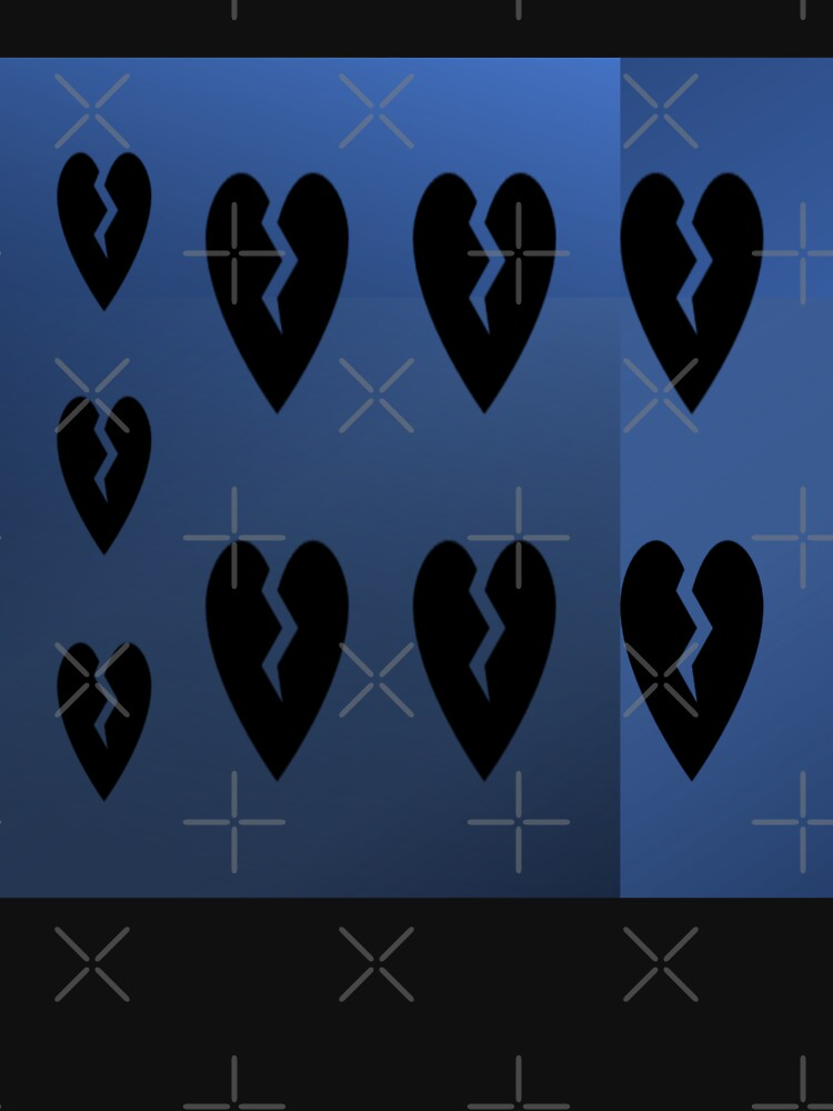 9 black broken hearts with different shades of blue background by Veee8