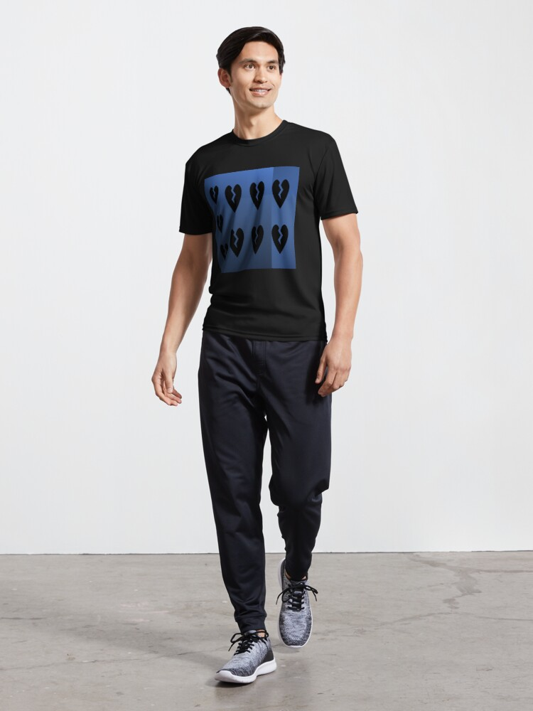 Alternate view of 9 black broken hearts with different shades of blue background Active T-Shirt