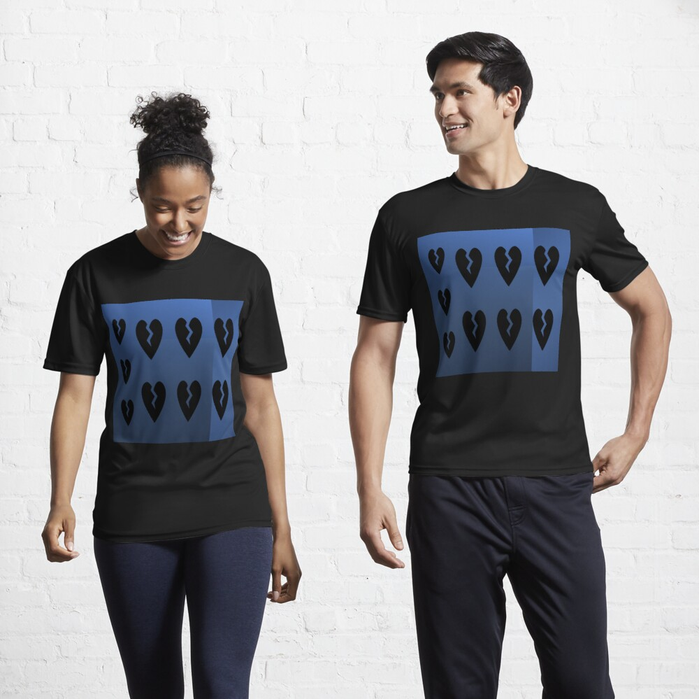 9 black broken hearts with different shades of blue background Active T-Shirt