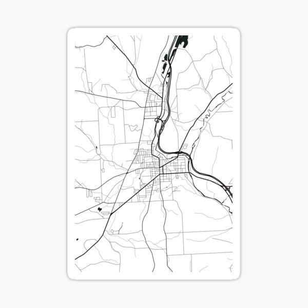 Cortland New York Map Line Art - White  Sticker