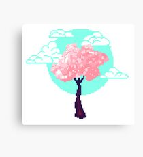 Cherry Blossom Pixel Canvas Print