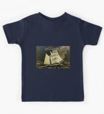 A digital painting, as an old style print, of a True Brigantine Kids Tee