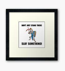 Knight Slay Something Cartoon Framed Print