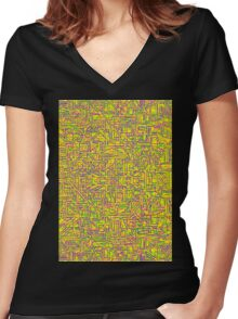 Mazetract Yellow Women's Fitted V-Neck T-Shirt