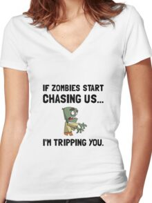 Zombies Chase Us Tripping Women's Fitted V-Neck T-Shirt
