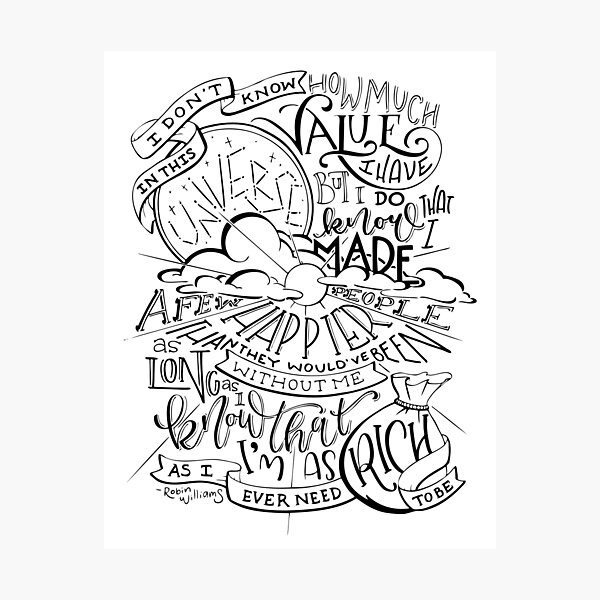 Robin Williams Quote Hand Lettered Photographic Print