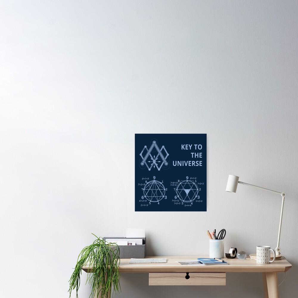 Key To The Universe (light blue on dark monochrome) Poster