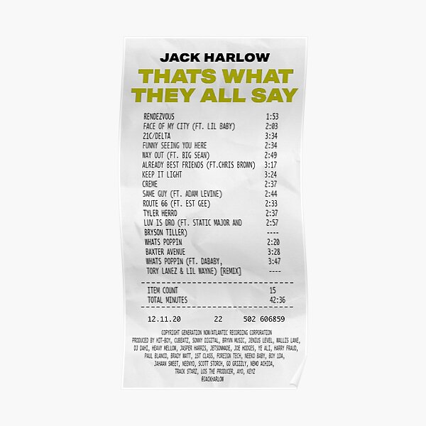That's What They All Say - Album Receipt Poster