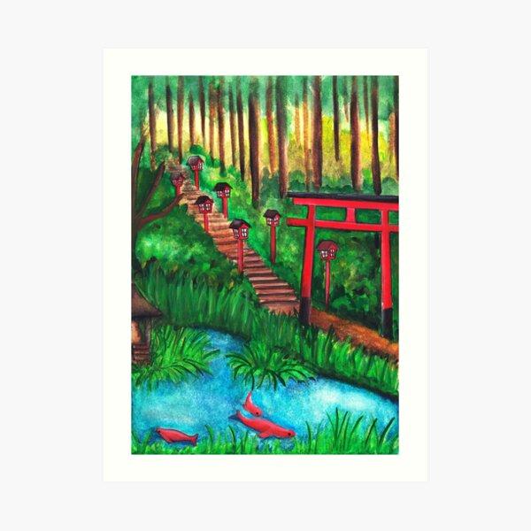Watercolor - Japanese temple tori gate  Art Print