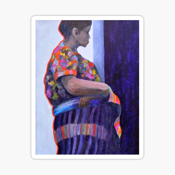 Guatemalan woman in doorway Sticker