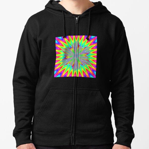 Trippy Decorative Pattern Zipped Hoodie