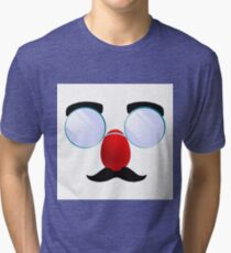 Funny Glasses with a red nose. Tri-blend T-Shirt