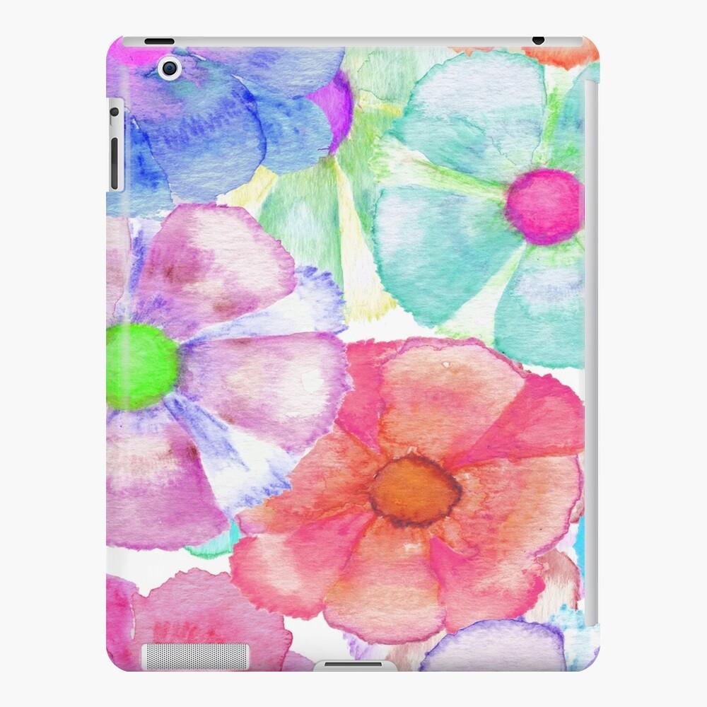 Colorful Hand Painted Watercolor Flowers Funda y vinilo para iPad