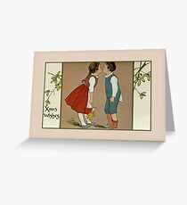 Cute children kissing Xmas wishes vintage Greeting Card