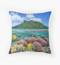 Island coral and fish underwater French Polynesia Throw Pillow