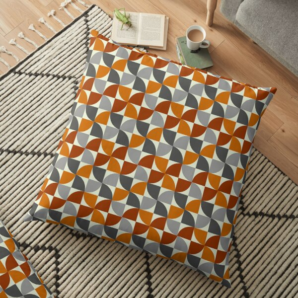 Grey and Orange Mid Century Modern Floor Pillow