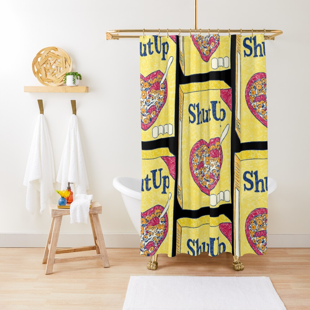 Shut Up (Black) Shower Curtain