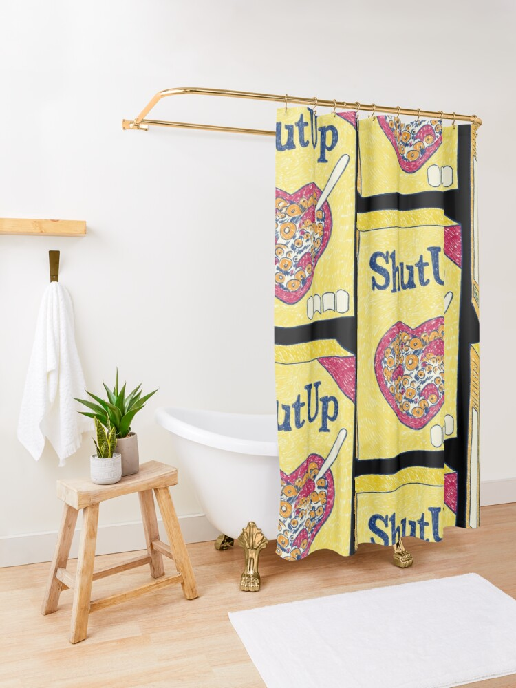 Alternate view of Shut Up (Black) Shower Curtain