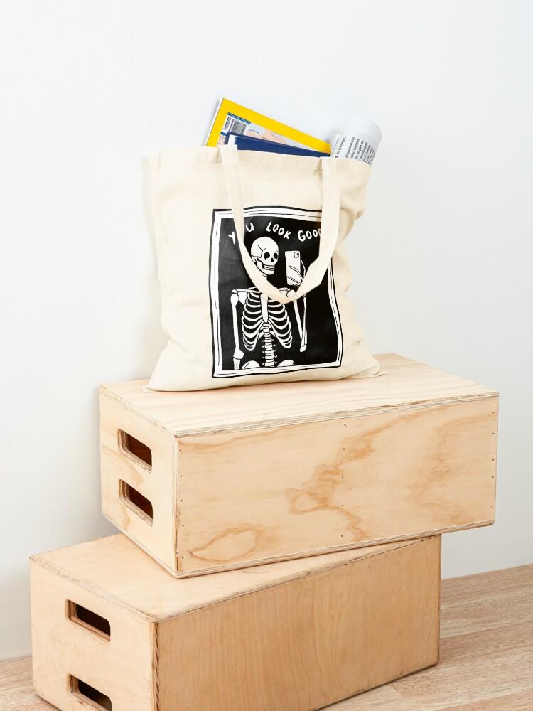 Alternate view of you look good skeleton mirror selfie black and white Tote Bag