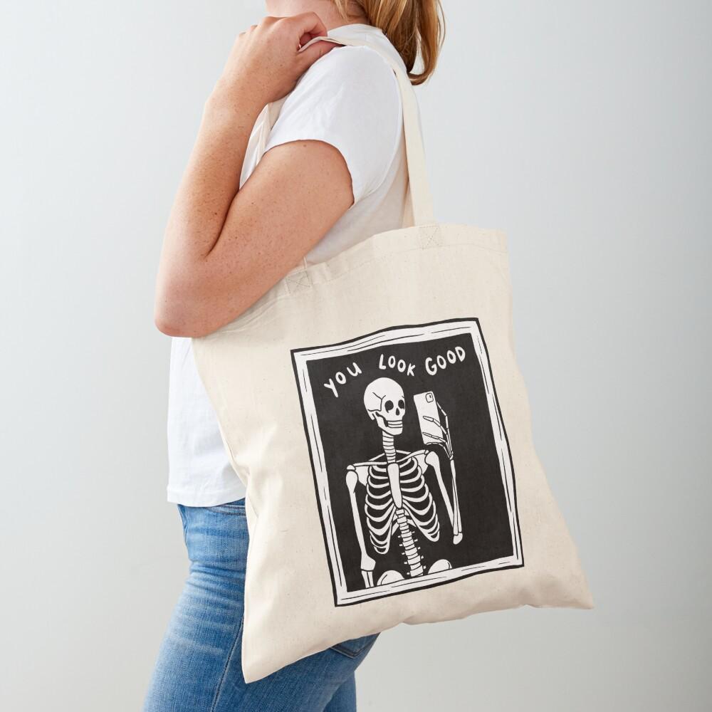 you look good skeleton mirror selfie black and white Tote Bag