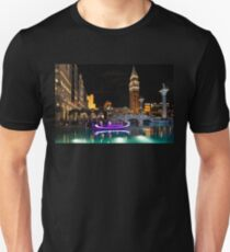 Lighting Up the Night in Neon - Colorful Canals and Gondolas at the Venetian Las Vegas T-Shirt