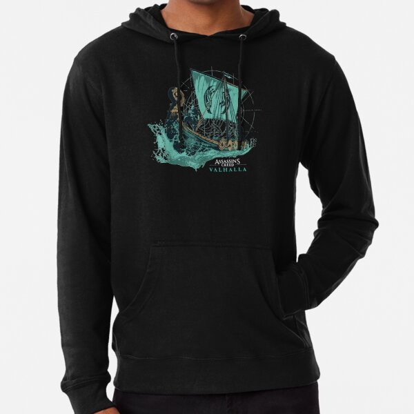 Assassins Creed Valhalla T-shirt long bateau Sweat à capuche léger