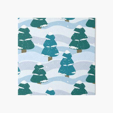Snowy Winter Pine Trees Art Board Print
