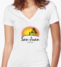 San Juan, Puerto Rico Women's Fitted V-Neck T-Shirt