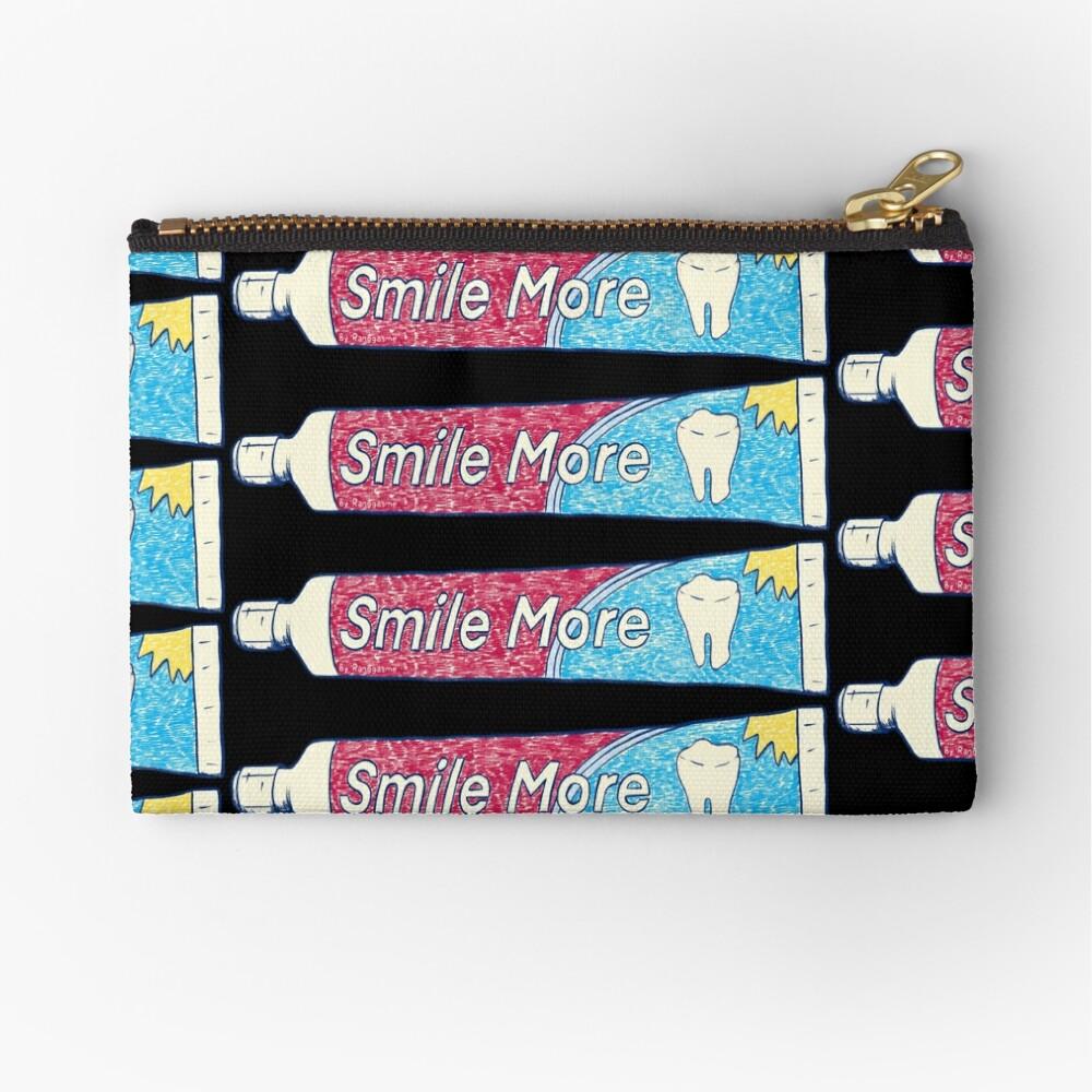 Smile More (Black) Zipper Pouch
