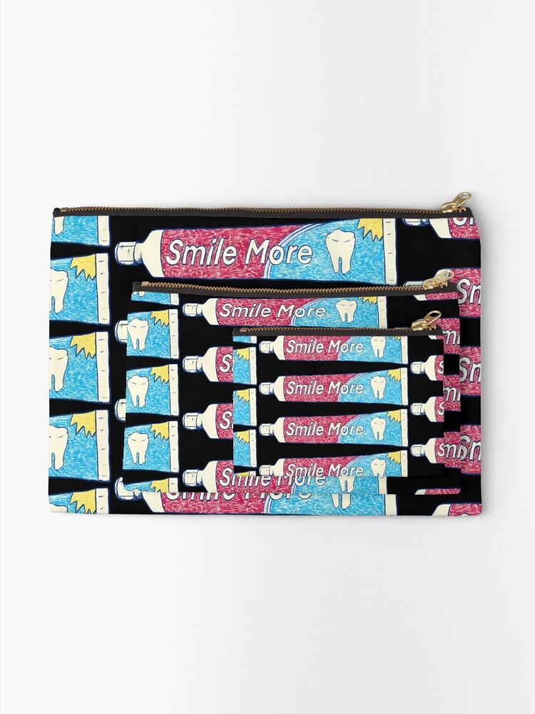 Alternate view of Smile More (Black) Zipper Pouch